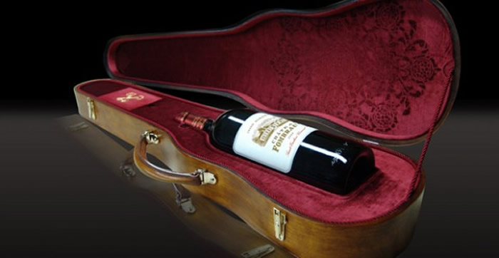 Château Fombrauge 2008 magnum nestled in an original Stradivarius case.