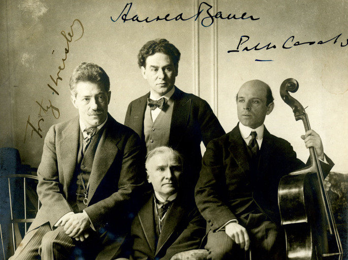 Fritz Kreisler, Harold Bauer, Pablo Casals, and Walter Damrosch at Carnegie Hall in 1904