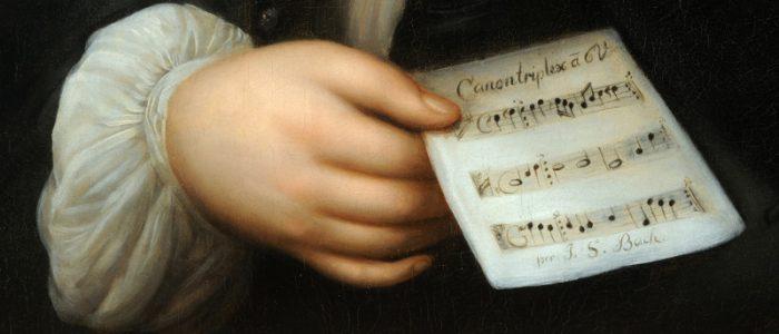 Elias Gottlob Haussmann: Portrait of Johann Sebastian Bach (detail), 1746.