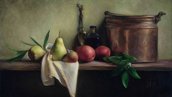 Juliette Aristides: Jane's Pears, Oil on canvas, Private collection.