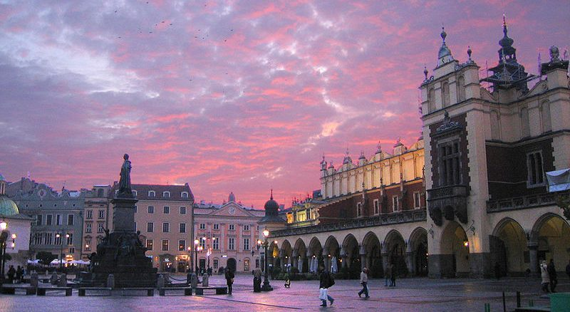 A view of the Market Square in Old Town, Krakow, Poland.