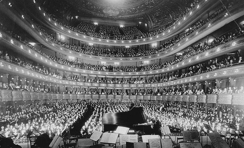 A full house at the old Metropolitan Opera House, at a concert by pianist Josef Hofmann, November 28, 1937.