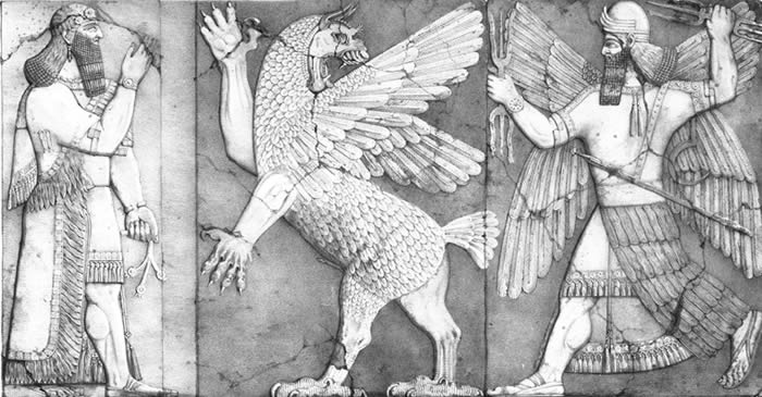 "Gilgamesh encountered the ancient Mesopotamian gods when he set out to discover the meaning of life; plate from ""Monuments of Ninevah, Second Series,"" compiled by Austen Henry Layard, 1853."