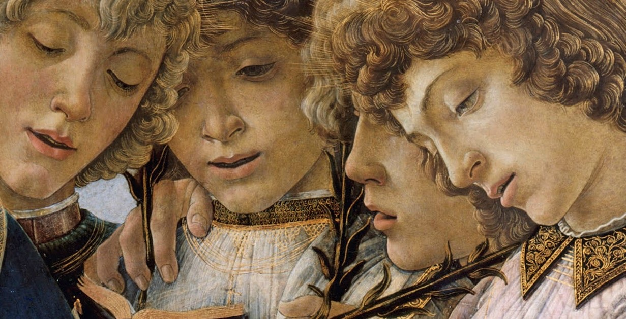 Sandro Botticelli: Mary with the Child and Singing Angels (detail), 1477.