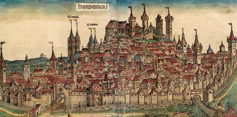 Woodcut by Michael Wolgemut and Wilhelm Pleydenwurff: Nürnberg von Süden, 1493.