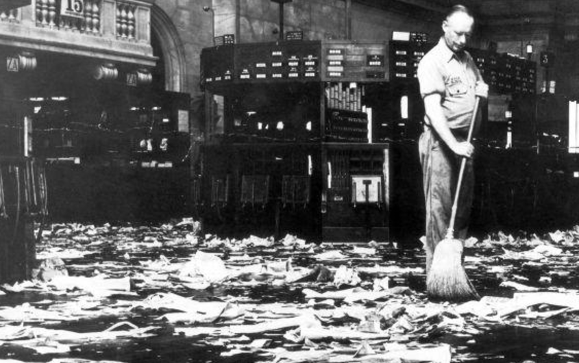 Cleaner sweeping the floor after the Wall Street crash, 1929
